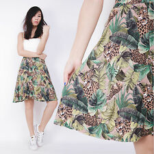Vintage Beige Green Leopard Animla Print High Waisted Full Retro Swing Skirt 6 8