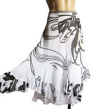 "VINTAGE Nineties frilly 2 layer SKIRT 36"" waist, UK size 14 L White/black linen"