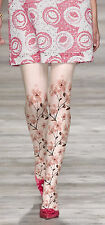 Unique Designer Pink White Opaque Floral Tattoo Tights Cherry Blossom Pantyhose