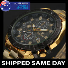 RQMAN MENS FASHION DRESS WATCH Gold Silver Strap Band Army Military Bling D3
