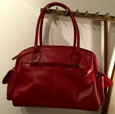 """NEW & STORED  'TOMMY & KATE' RED LEATHER HAND BAG 13"""" X 10"""" X 5"""""""