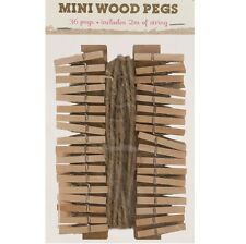 36 x Mini Wood Pegs + 2m of Jute String Craft Wedding Hanging Photo Clips Wooden