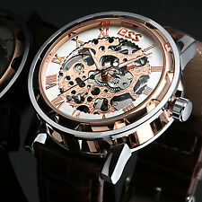 Gold White Steampunk Skeleton Hand-Winding Men's Mechanical Brown Leather Watch