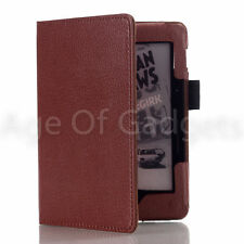 BROWN PU LEATHER SMART CASE COVER WITH WAKE SLEEP FOR AMAZON KINDLE VOYAGE