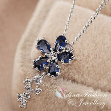18K White Gold Plated Swarovski Crystal Delicate Thin Flower Sapphire Necklace