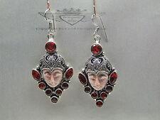 925 Silber-Ohrringe mit geschnitzten Gesicht, Jasper, Granat, Silber, Edelstein.
