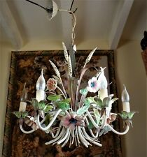 SHABBY CHIC * VINTAGE FRENCH CHANDELIER TOLEWARE FLOWERS 6 LAMP CEILING LIGHT