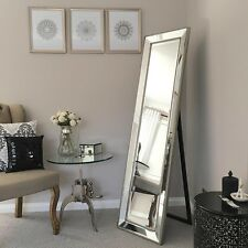 High Quality Cheval Mirror/Silver Beaded Frame/Bevelled Edge/Dressing Mirror