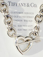 Tiffany & Co Sterling Silver Heart Arrow Toggle Charm 18 Inch Necklace