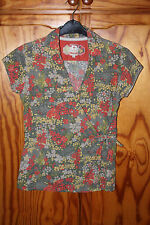 WOMENS GIRLS FAT FACE FLORAL SHORT SLEEVE WRAP TOP BLOUSE