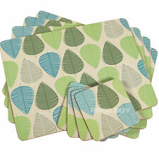 Set of 4 Beige Blue & Green Leaf Dining Table Placemats & Coasters Tablemats Mat