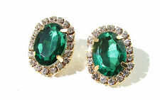 Gold Faux Emerald Green Silver Coloured Oval Earrings Vintage 1920s Diamante Z44