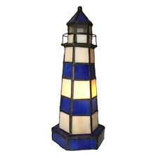 Tiffany Style Lighthouse Table Lamp Light Blue and White - NEW - FREE DELIVERY