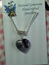 AMETHYST HEART PENDANT & SILVER PLATED CHAIN [8/4/7]