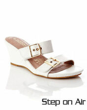 Autograph WHITE 6cm Wedge heel leather sock Slide Sandal Shoes 9 STEP ON AIR