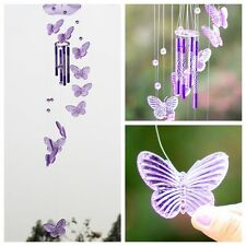 Purple Crystal Butterfly Wind Chime Bell Ornament Garden Living Hanging Decor