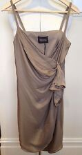 SCANLAN & THEODORE ~ BNWT 'Donkey' Brown Silk Wrap Front Spaghetti Strap Dress 8