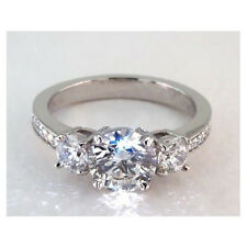 2.00 Cts SI2 G Vintage Style Three Stone Round Solitaire Diamond Engagement Ring