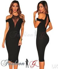 Womens Midi Dress Black Party Bodycon Evening Pencil Wiggle Cocktail Size 8.10 S