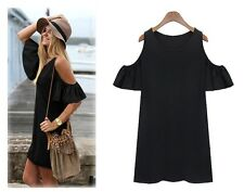 VIERA BEAUTIFUL BOHO SIZE 14 BLACK STRETCH COTTON RUFFLE OPEN SLEEVE TUNIC DRESS