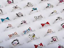 10St Großhandel Los Nette Shinning Ring Kristall Silber überzogene Kinder Ringe