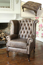 Chesterfield Queen Anne Wingback Chair and Footstool in Vintage Brown Leather