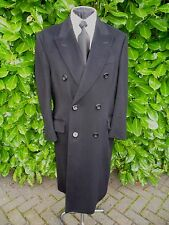 AQUASCUTUM WOOL & CASHMERE DOUBLE BREASTED JET BLACK OVERCOAT SIZE 40 CHEST