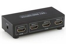 deleyCON HDMI Switch / Verteiler 3 Port - 3D Ready / 1080p - Metallgehäuse