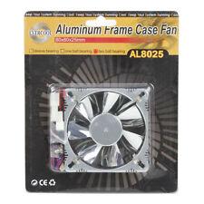 Evercool AL8025B 80mm x 25mm Aluminum Low Noise 12v Cooling Fan 3 & 4 pin Silver