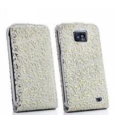 Flip case Handy Tasche Samsung I9100 Galaxy S2 SII Weiss-Gold Schutzhülle Flower