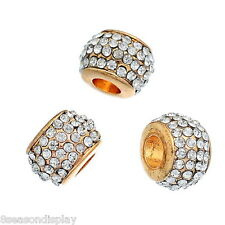 5PCs Gold Plated European Charms Beads With White Rhinestone 11mmx8mm