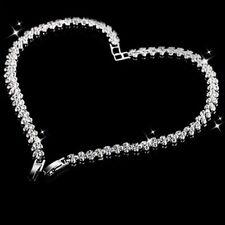 925 Silver Crystal Rhinestone Diamante Gem Bridal Wedding Tennis Bracelet Gift
