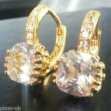 M09 White cushion sapphires yellow gold gf French hoop earrings BOXED Plum UK
