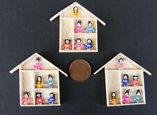 1:12 Single Assorted Clay Geisha Girls (6) & Wooden Frame Dolls House Accessory