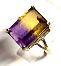 6.85CT large purple gold AMETRINE Sterling Silver COCKTAIL Ring Size 5 TO10
