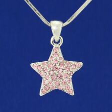 "Star W Swarovski Crystal Pink New Charm Pendant Necklace Jewelry 18"" Chain Gift"