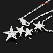 18k White Gold Plated Silver Clear Swarovski Crystal Four Stars Necklace N127