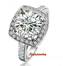 White Gold Plated Swarovski Crystal Diamond Wedding Engagement Silver Ring R54
