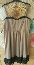 AS NEW SIZE L city chic taupe with black lace sleeveless cocktail dress
