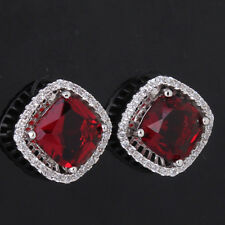 2014 Hot sell 18k white gold filled princess red gemstone garnet stud earring