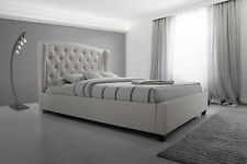 French Provincial Wing Queen Size Bed Frame in Fabric - Oat White