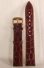 Longines men's brown 18mm leather Croco Grain watch band - gold plated buckle!