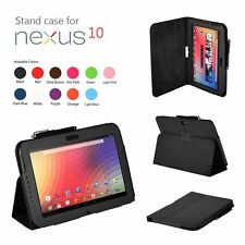 Black Folio Stand Skin Leather Case Cover for Samsung Google Nexus 10 Tablet