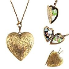 Retro Woman Man Bronze Heart DIY Photo Locket Open Pendant Long Chain Necklace