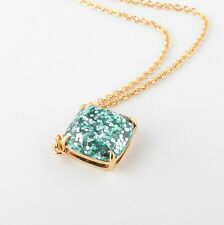 Kate Spade New York Glitter Square Pendant Necklace  green