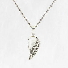 """925 Sterling Silver Angel Wing with Mother Of Pearl PENDANT w Oxidised 16"""" Chain"""