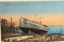 19707 AK Trieste Varo di una nave da guerra cartolina PC ship Triest 1912