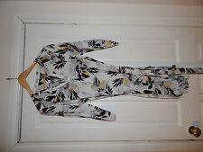 ✨Bnwt K&D London Floral Shirt Tunic Dress Size Uk 16 White Black & Yellow