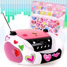 CD Player Radio Stereo Musik Hifi Anlage Boombox Kinder Mädchen Herzchen Sticker