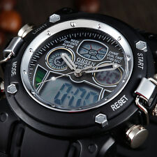 OHSEN Mens Stopwatch Date Dual Display Digital Sport Quartz Army Military Watch